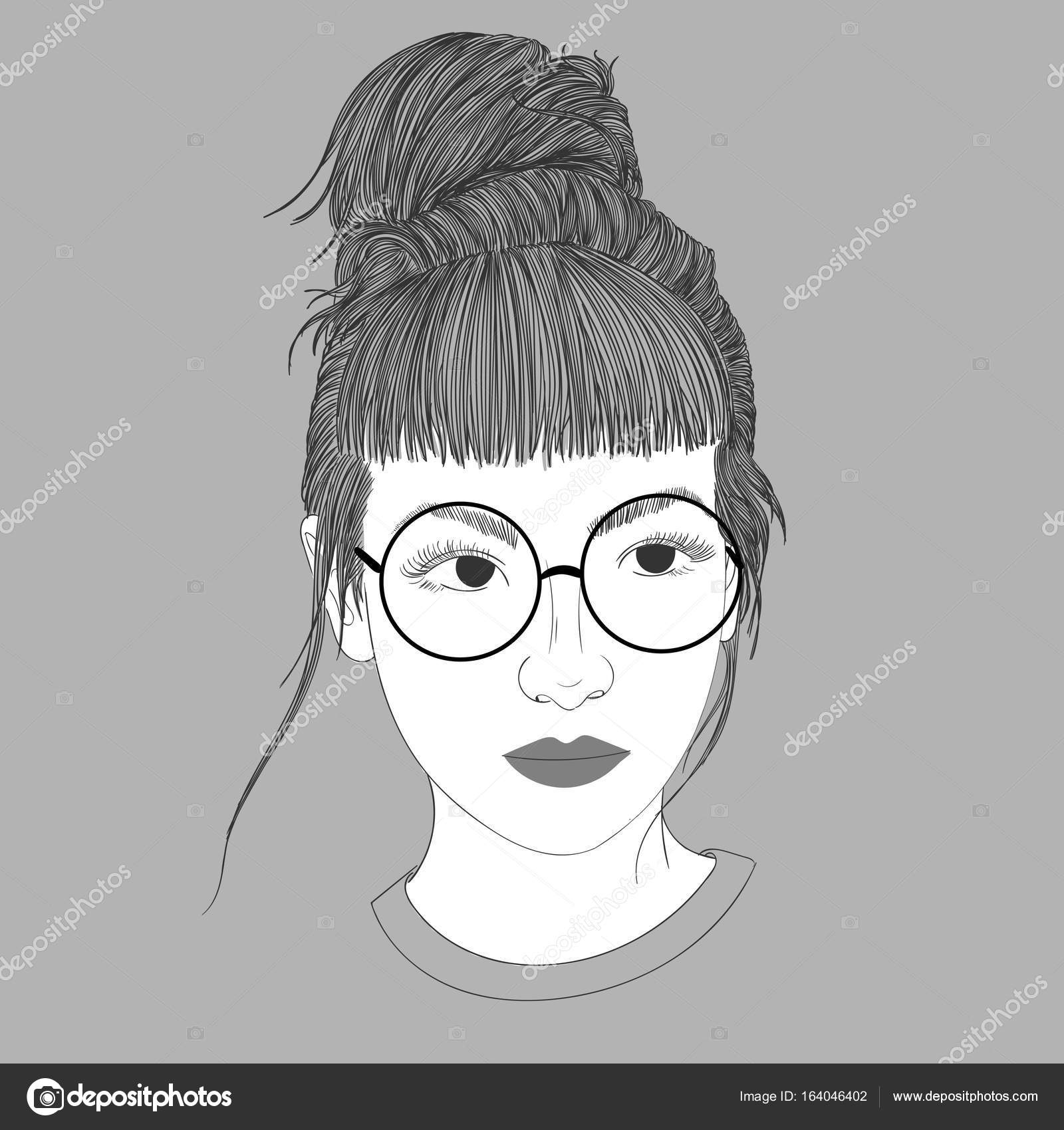 Young Girl Wearing Glasses And School Childrenodle Beautiful