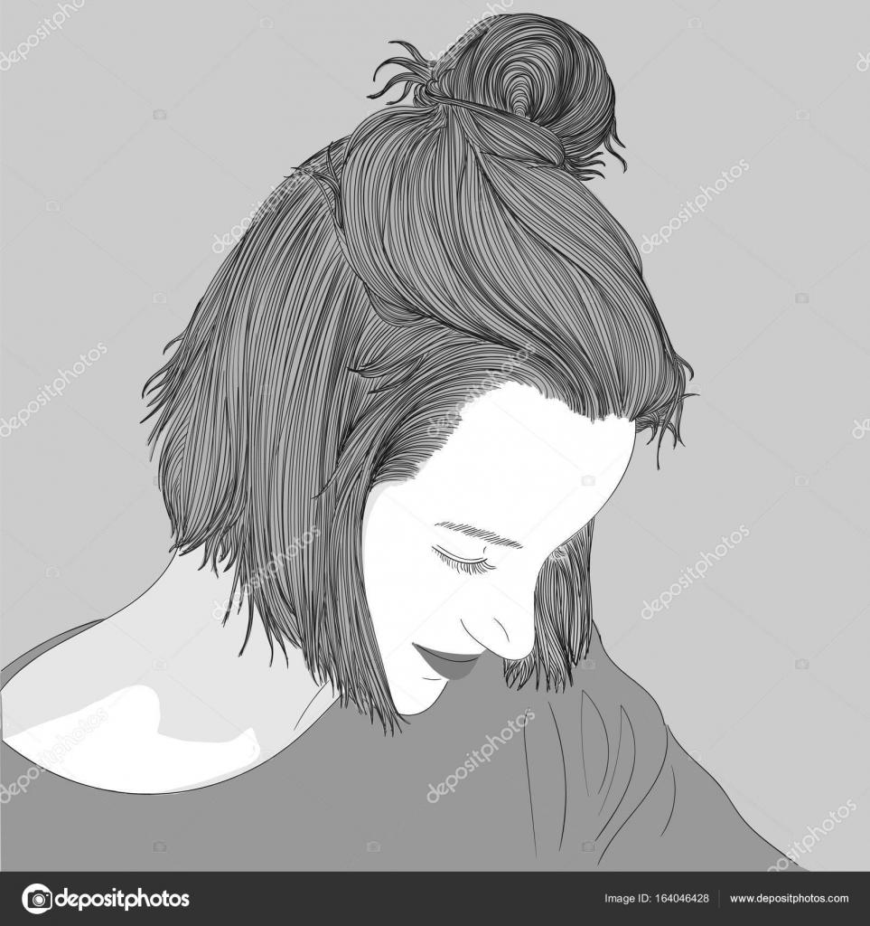Schone Frau Zeichnen Doodle Eine Skizze Einer Weiblichen Frisur