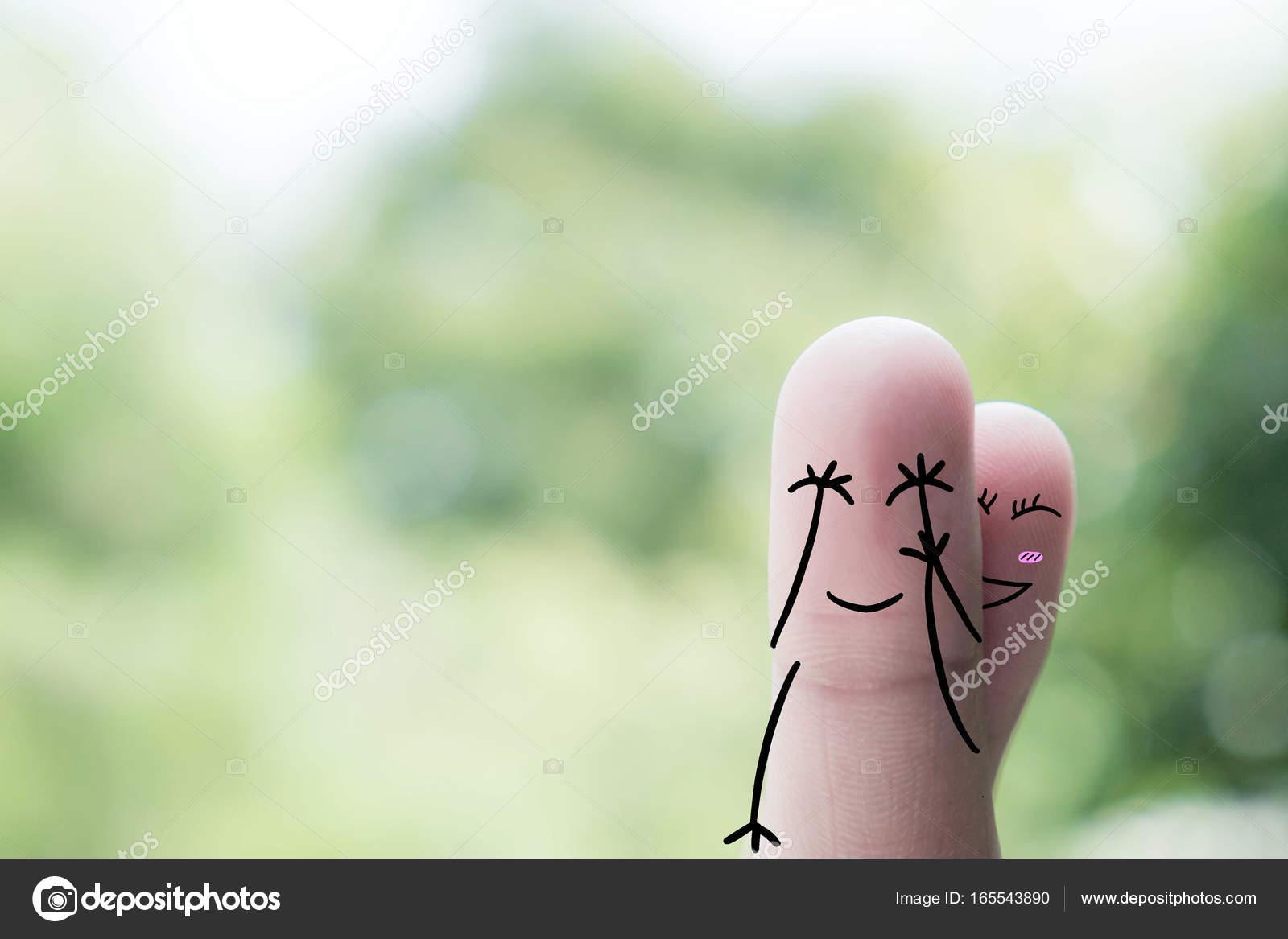 Arte del dedo de una pareja feliz. Un hombre y una mujer, un abrazo ...