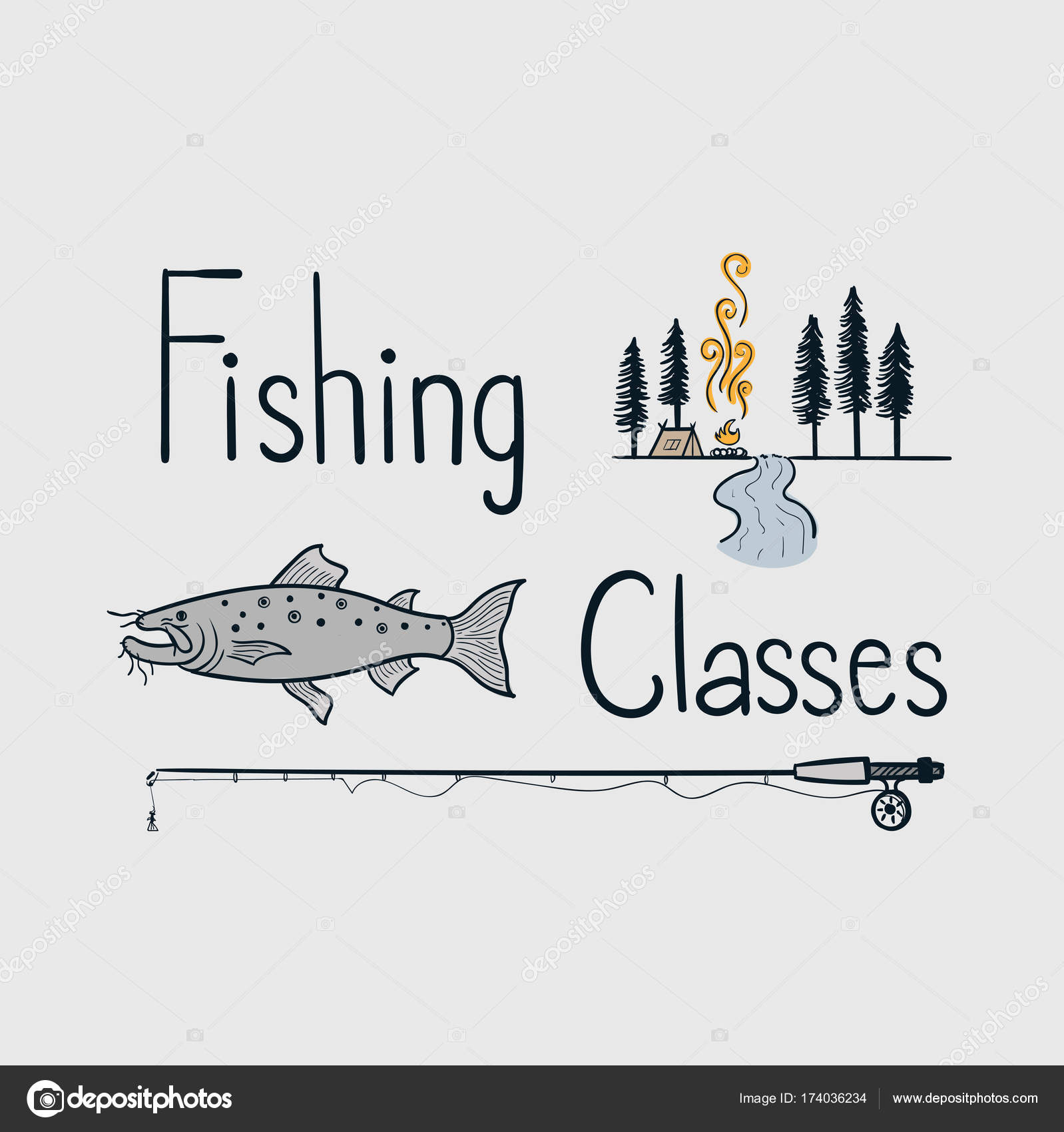 Vector Line Art Doodle Character Classes Fishing Right Ready