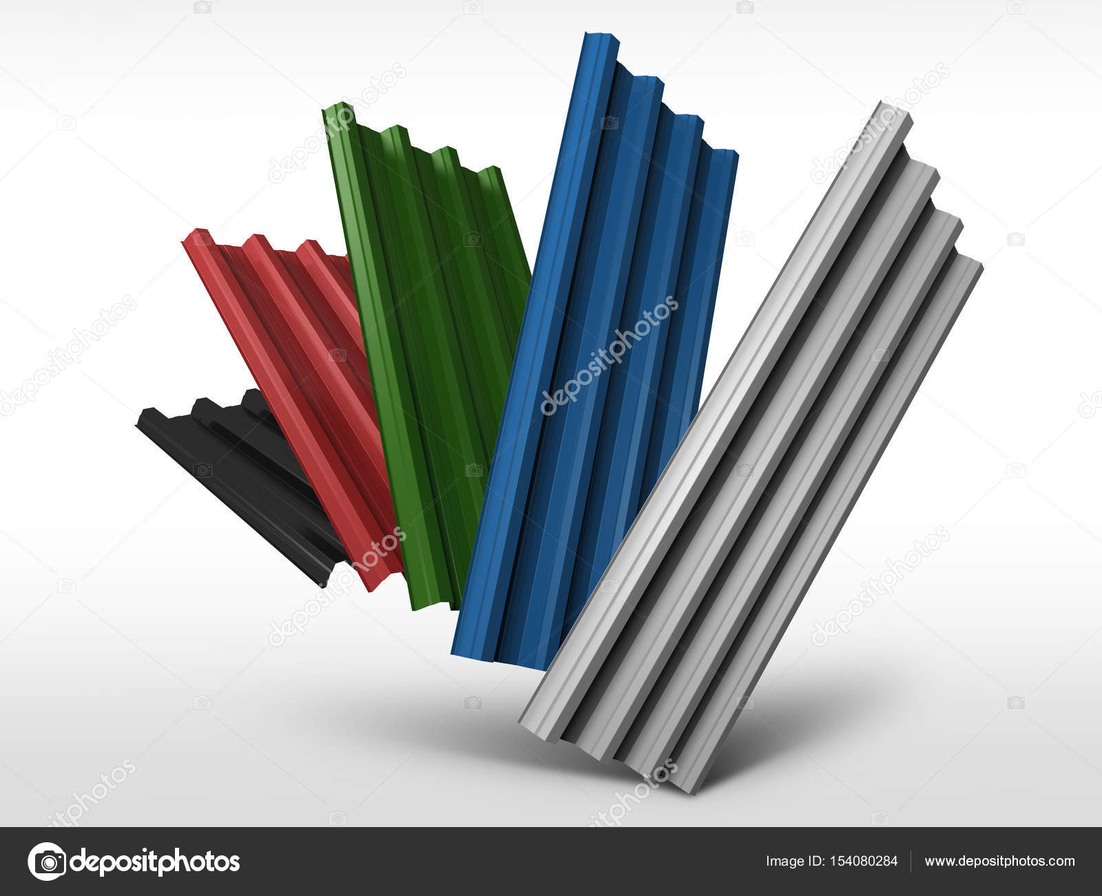 Corrugated sheet metal profiles in various colors — Stock Photo ...
