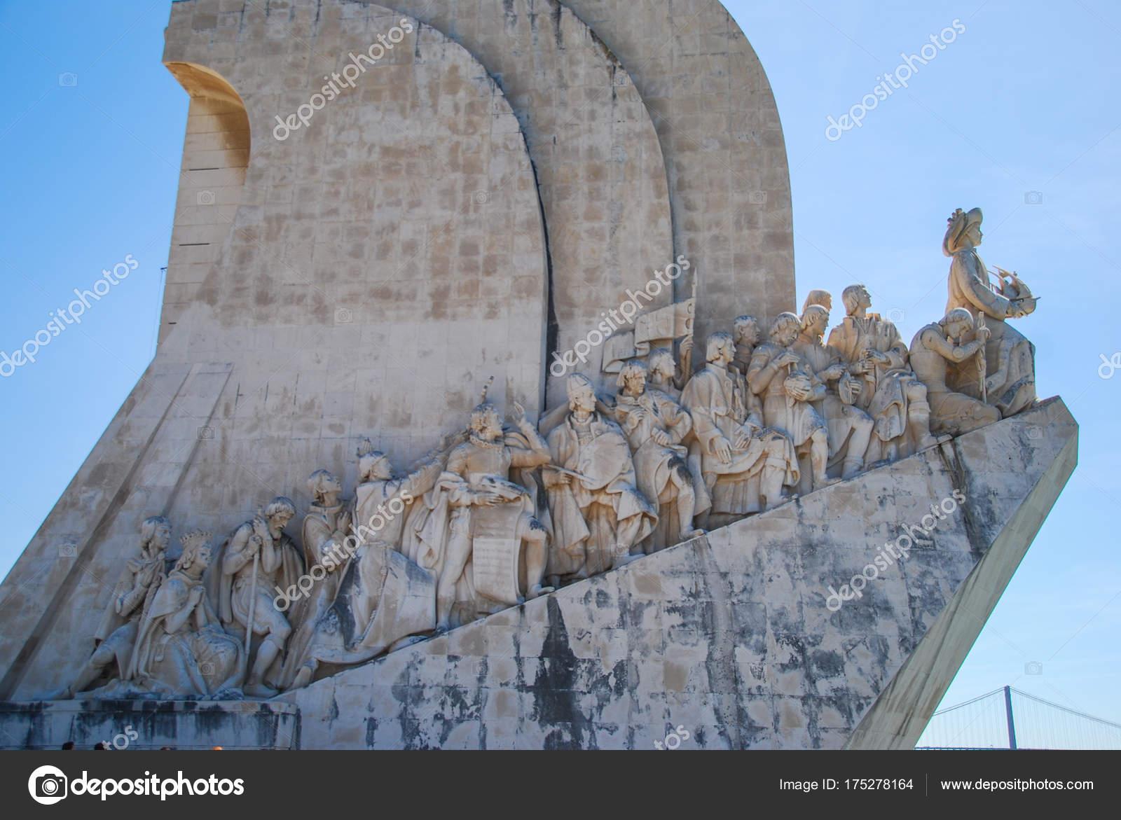 0162274870d9d Vasco Gama Monument Closeup View Sculptures Explorers Lisbon — Stock Photo