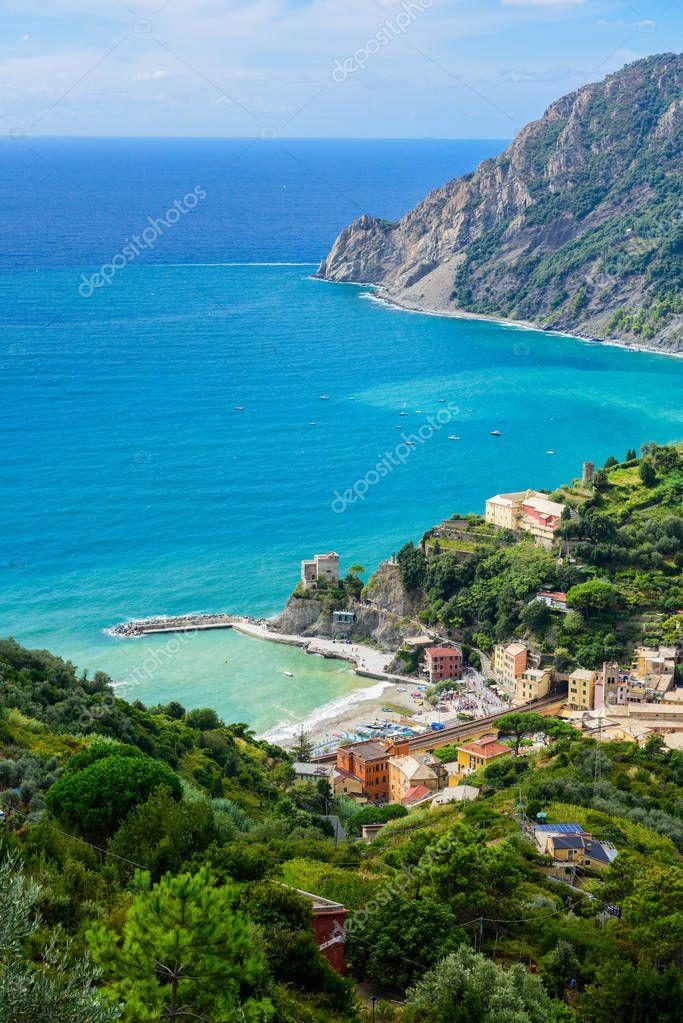 Bird's-eye view of Monterosso al mare, Cinque Terre National Park, Italy.