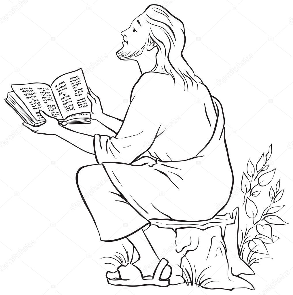 jesus reading the bible coloring page also available colored