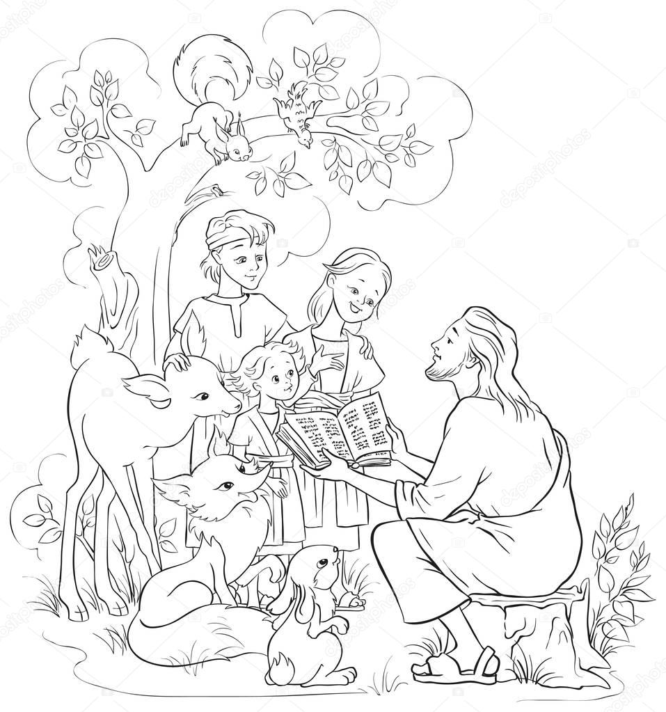Jesus reading the Bible to children and animals. Coloring page. Also ...