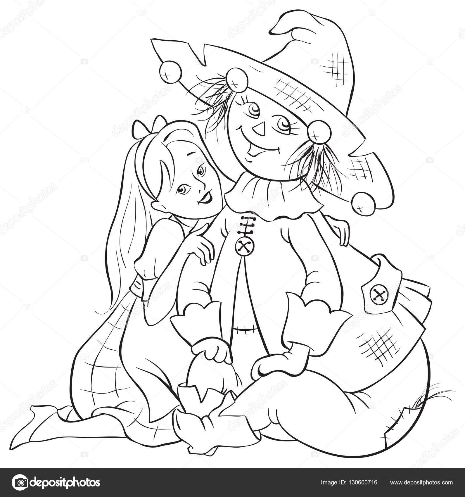 Dorothy y el espantapájaros. Mago de Oz para colorear página ...