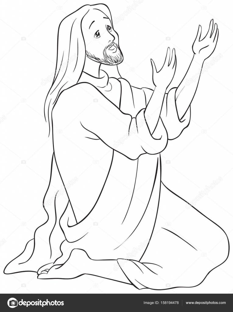 Jesús arrodillado en oración, página para colorear — Archivo ...