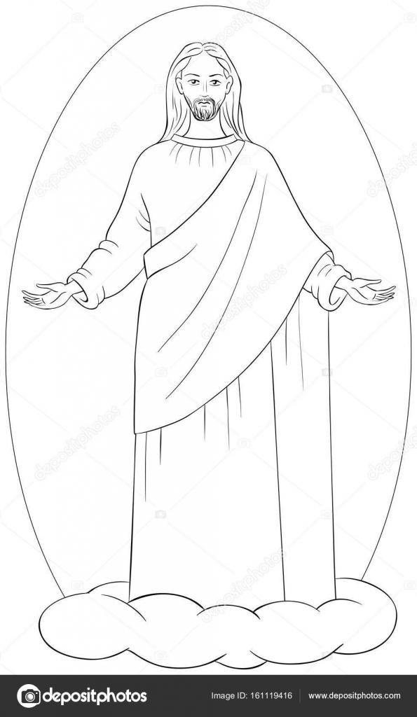 Ascensión de Jesús Cristo en túnica blanca, de pie sobre una nube ...
