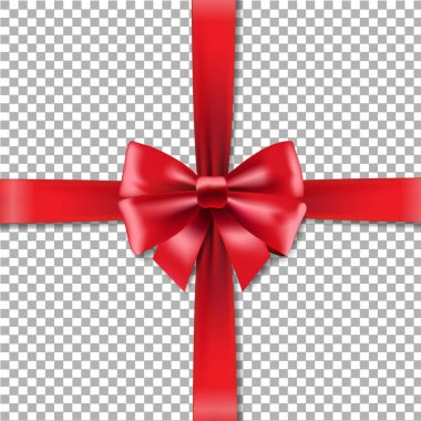 red gift ribbons with bow on checkered background, vector, illustration