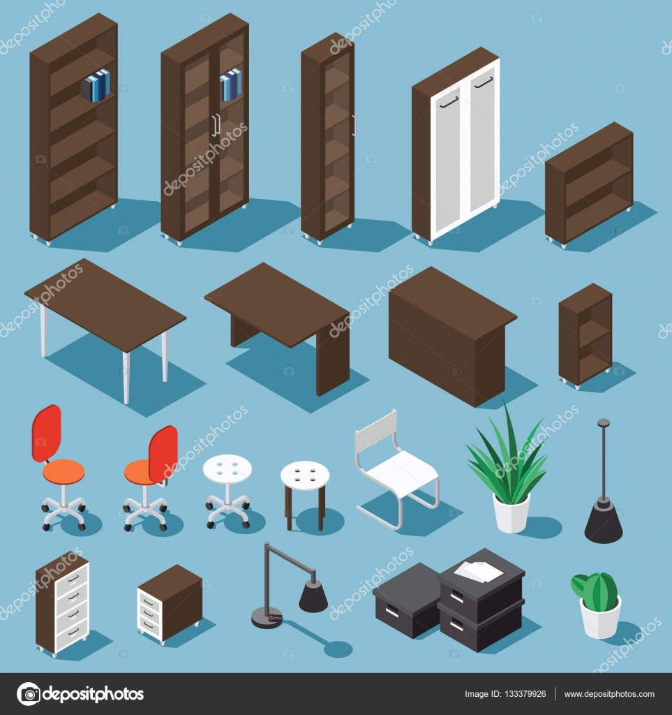 Conjunto de mueble de oficina isom trica vector de stock for Mueble vector