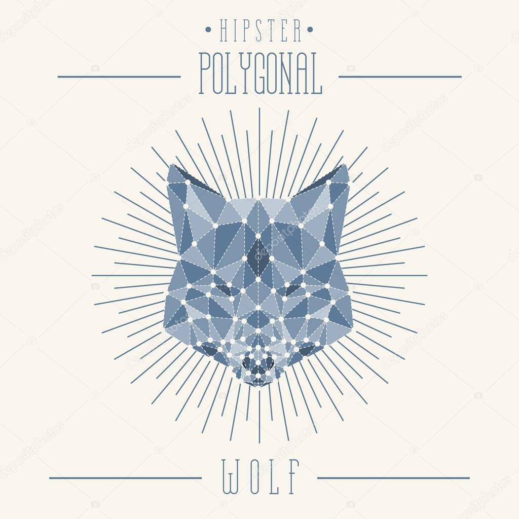 Hipster wolf head