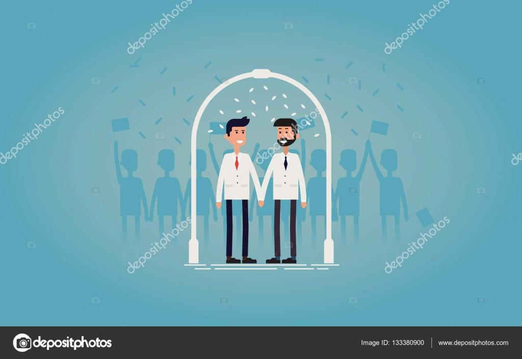 Gay Hochzeit / Ehe Konzept Vektor Illustration. Gay Paar In Weiß Passt Hand  In Hand Mit Hochzeit Bogen Und Weißen Blüten. Ideal Für Einladung Der ...