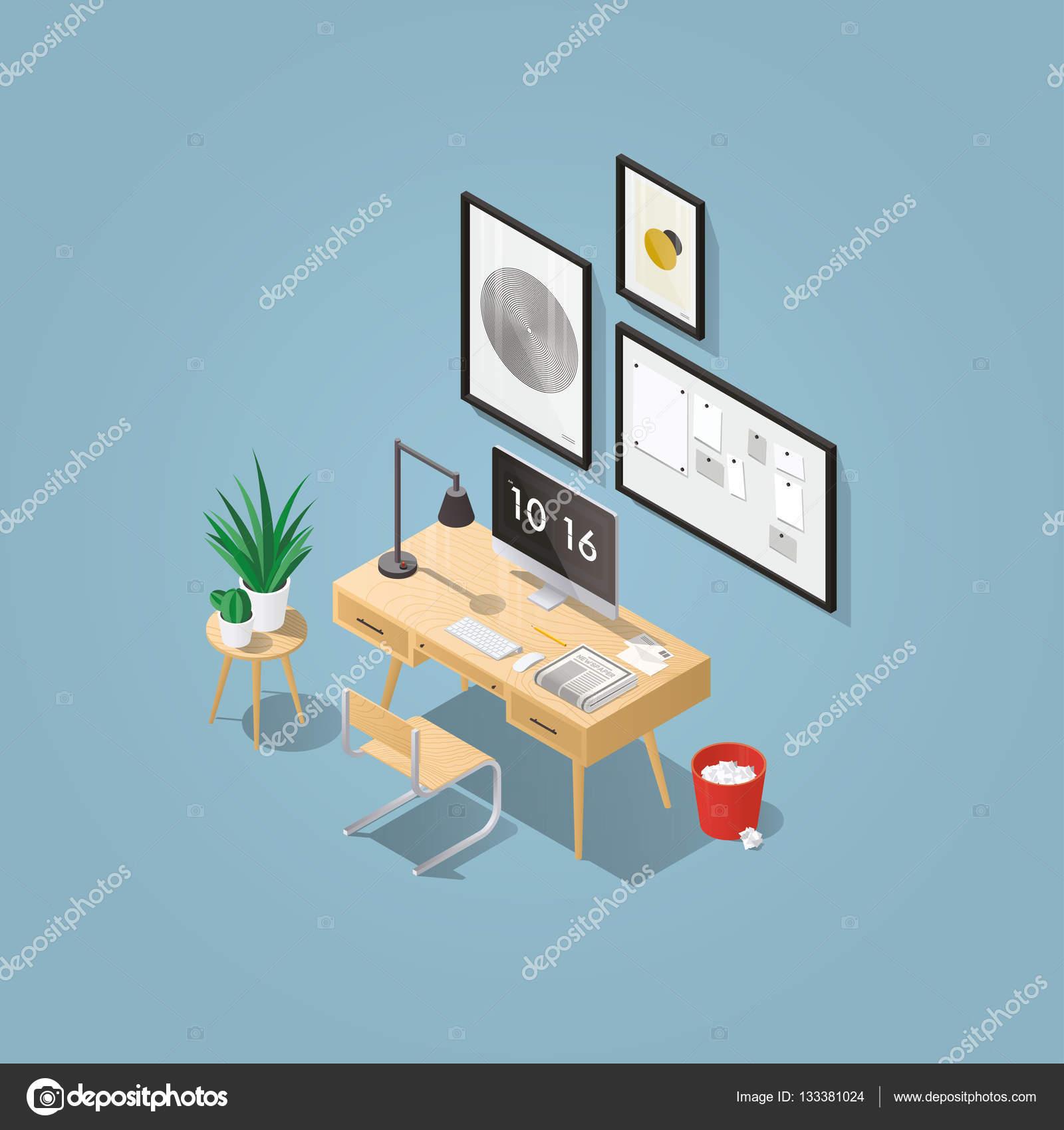 Arbeitsplatz Bühnenbild: Mitte Jahrhundert Bürotisch, Moderner Stuhl,  Bilder, Board, Pflanzen, Desktop Computer, Lampe, Mülleimer, Buchstaben, ...