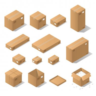 Isometric cardboard boxes