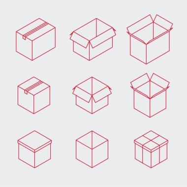 Isometric Outline Box Icon Set