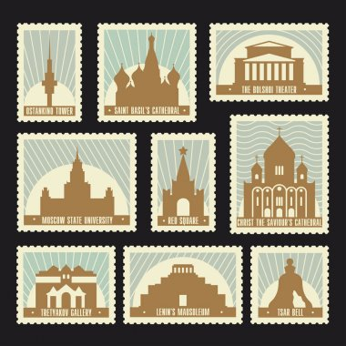 Moscow Post Stamps Set