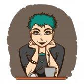 Fotografie Hezká holka s zelené vlasy sedí v přední části monitoru