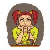 Fotografie Hezká dívka s červenými vlasy sedí v přední části monitoru