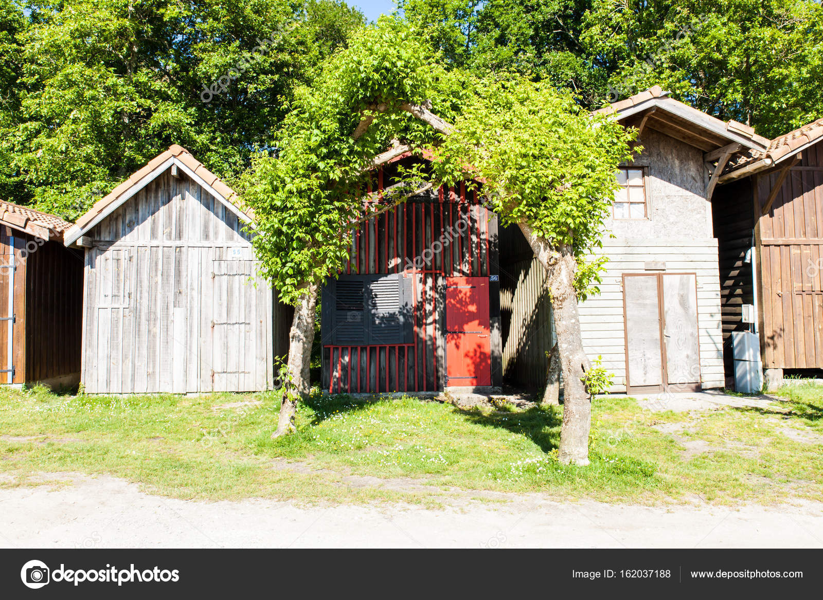 colored wooden houses near trees — Stock Photo © Chretien #162037188