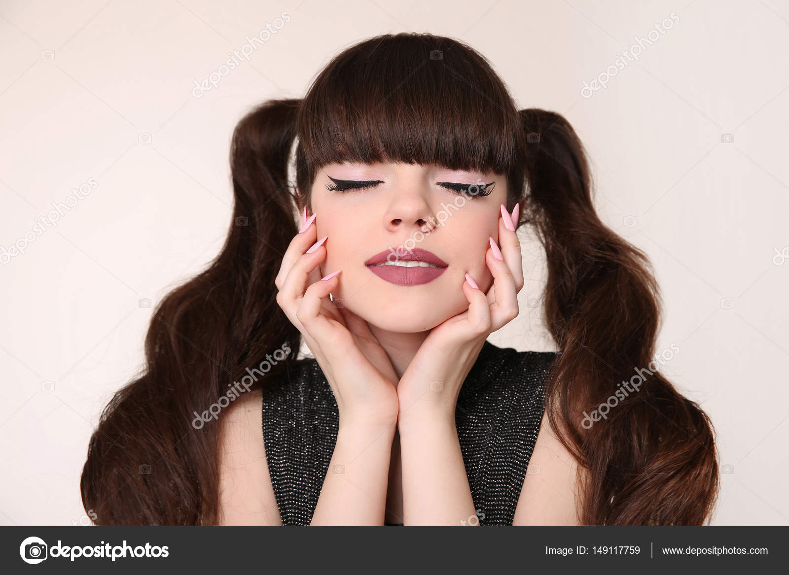 Beauty Teen Makeup And Hairstyle Teenage Girl With Hair Tail An