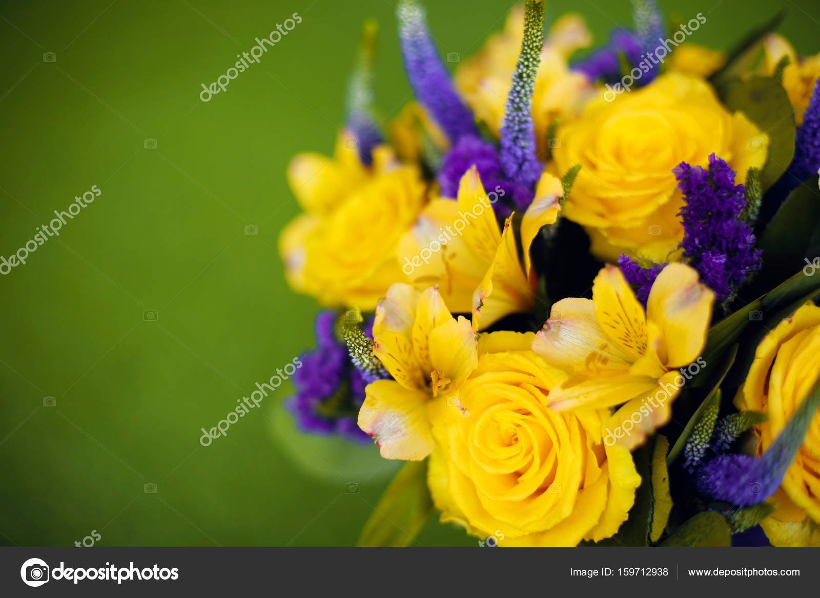 Roses bouquet of flower gift close up, Greeting card yellow viol ...