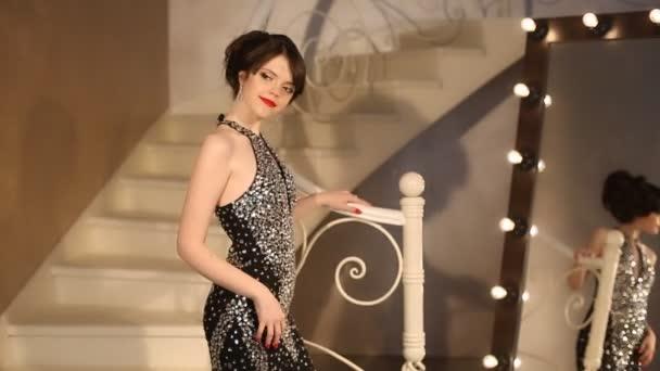 Elegant Lady Young Model In Luxury Black Dress Posing Cute Girl In