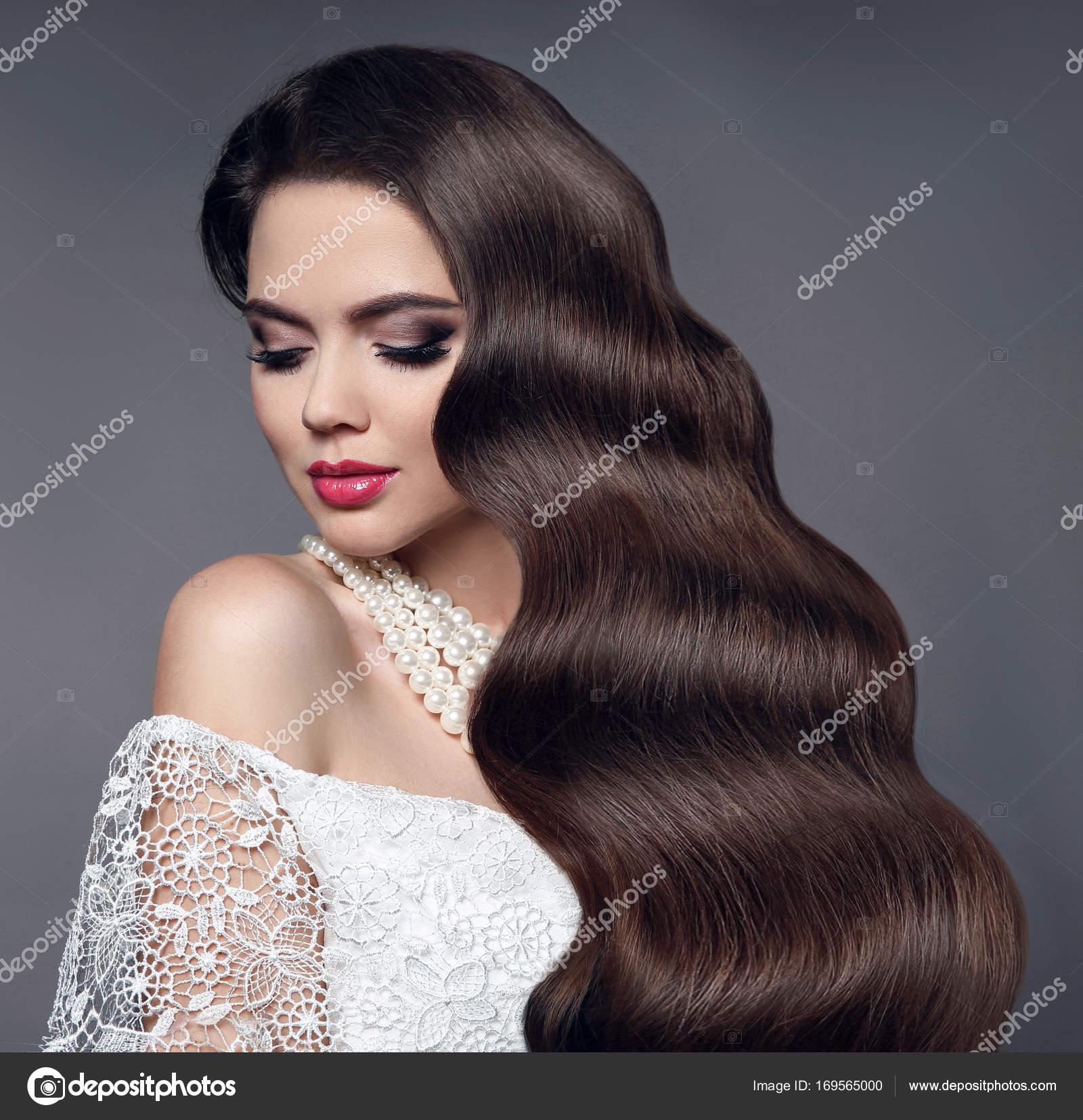 Uroda Zdrowe Włosy Portret Glamour W Model Piękny Woman Zdjęcie