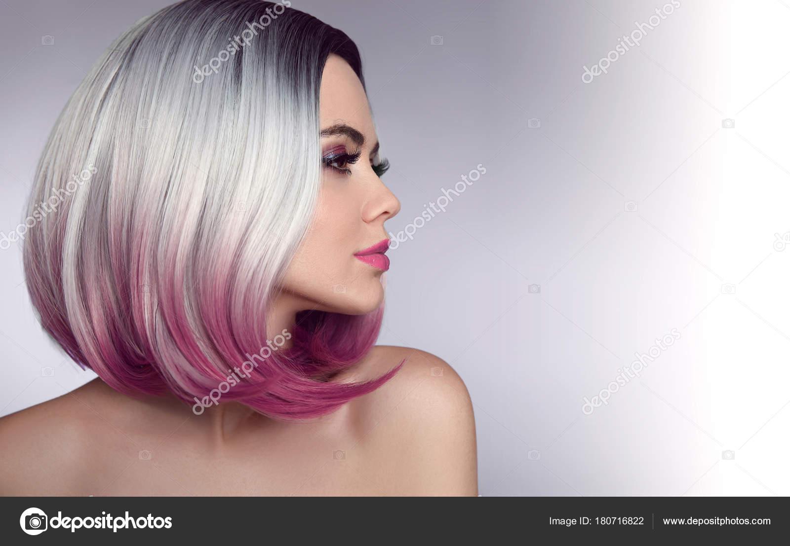 Ombre Fryzurę Krótki Bob Kolorowanka Piękne Włosy Kobieta Modny