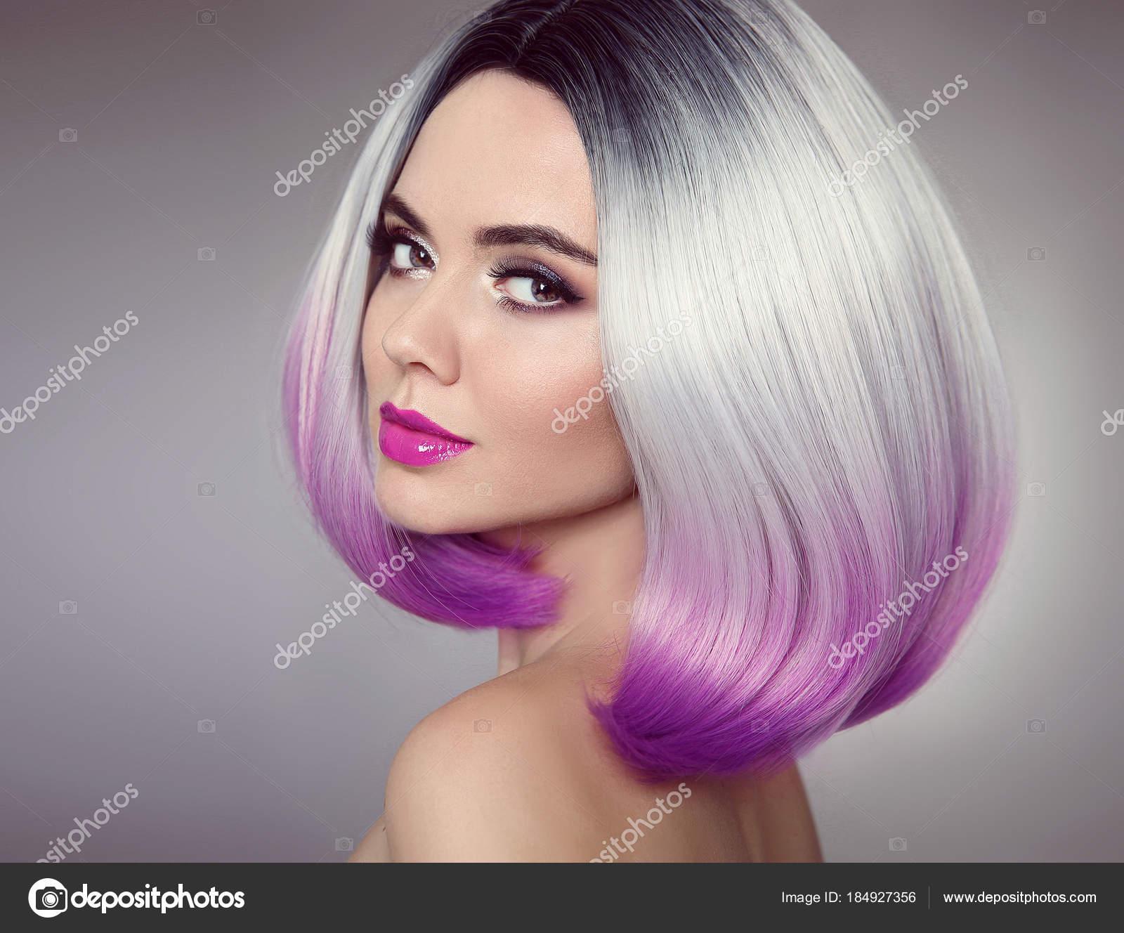 Fryzura Bob Kolorowe Ombre Hair Extensions Piękna Dziewczyna Model