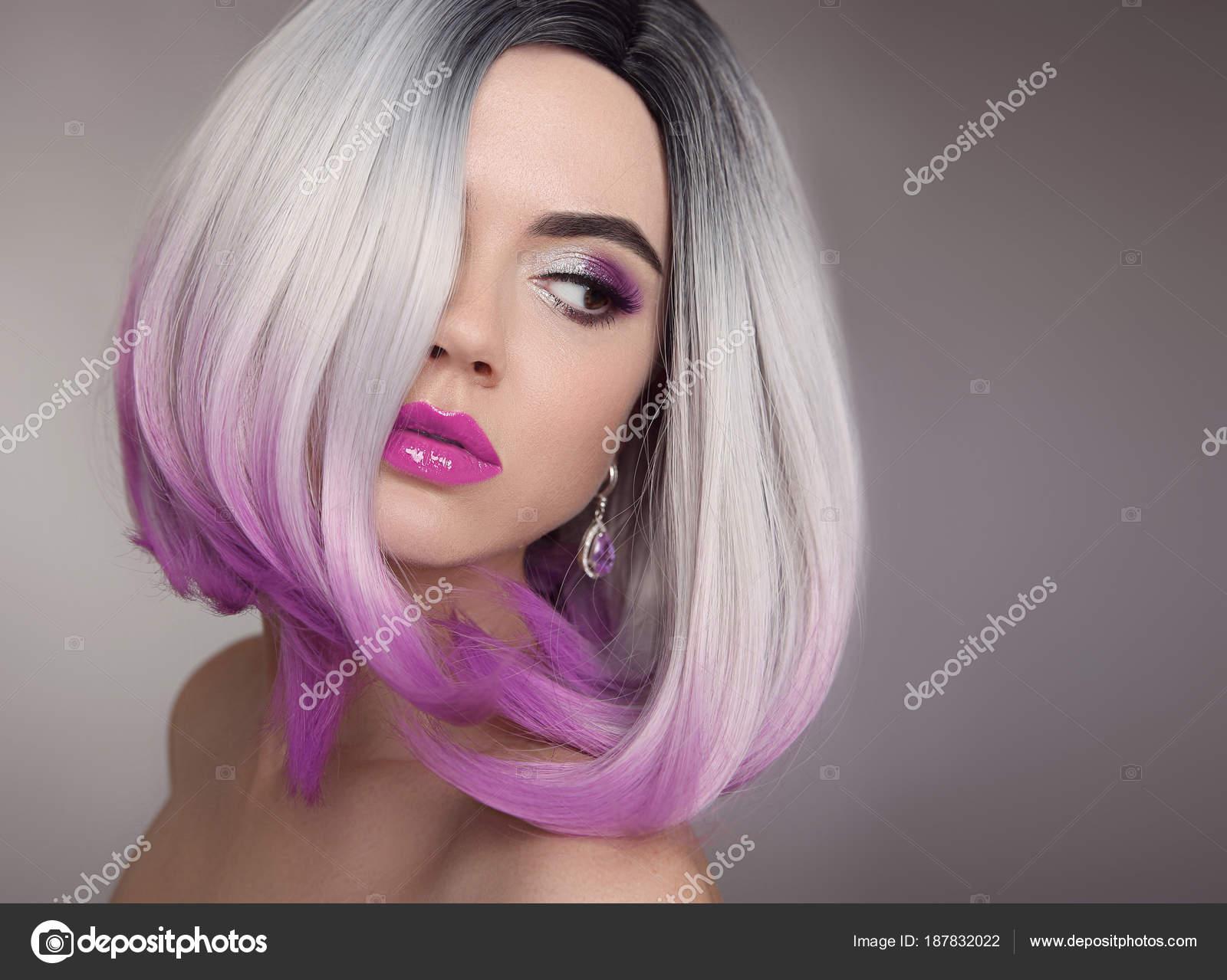 Ombre Bob Blonde Short Hairstyle Purple Makeup Beautiful Hair