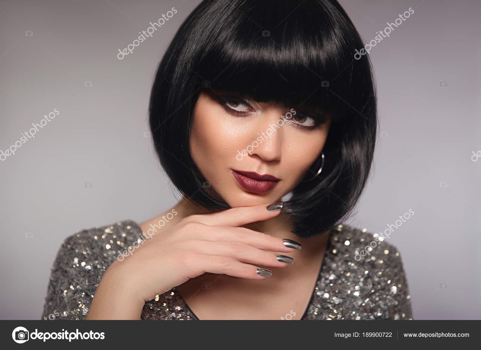 Kurze Haare Woman Modell Mode Brünette Nahaufnahme Portrait Mit