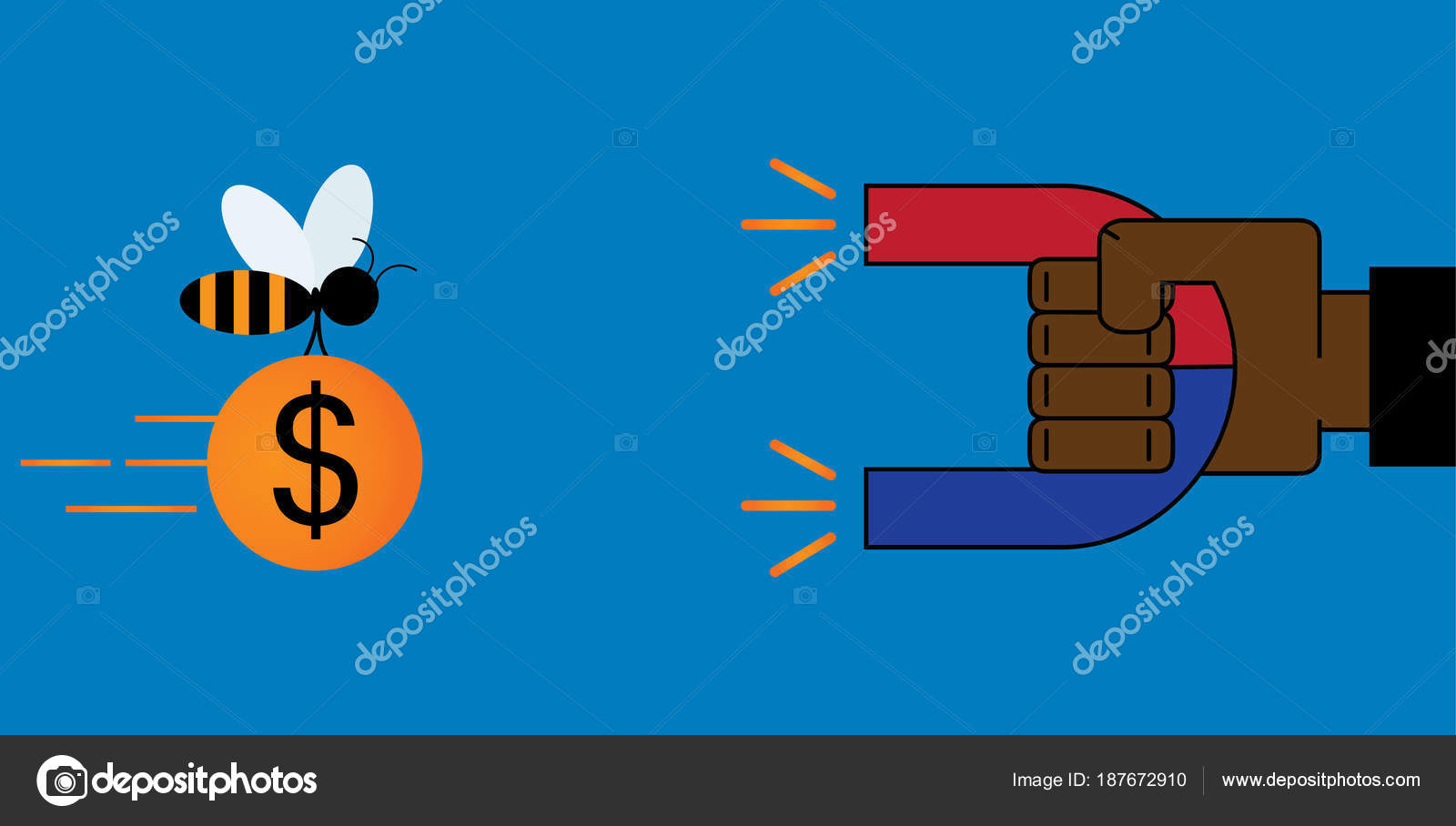 Businessman Hand Use Magnet To Attract Money Dollar Stock