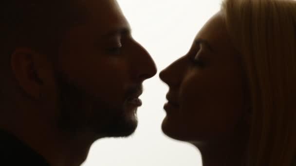 Profile silhouette of couple