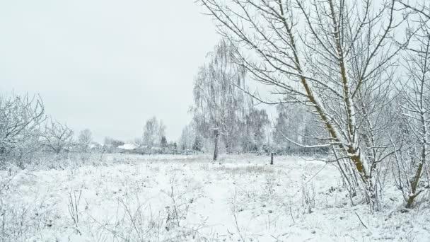 Oblasti pokryté sněhem s vesnických domů na obzoru.