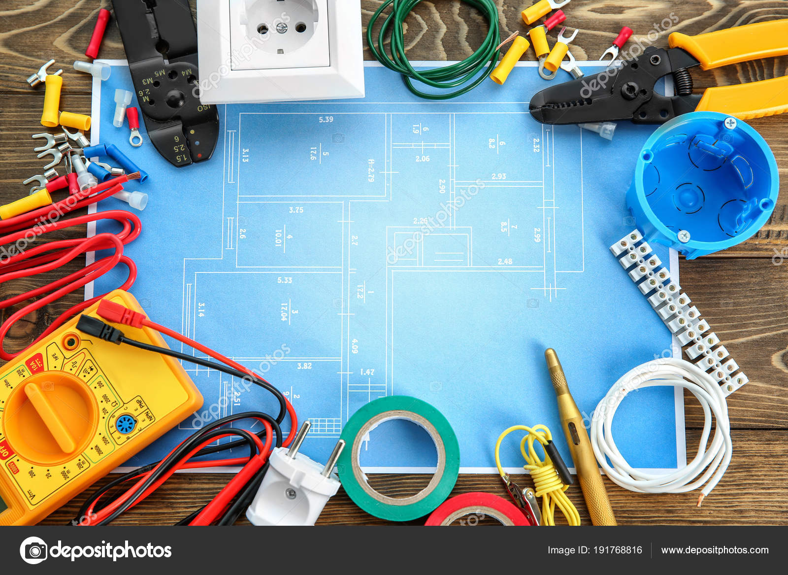 Flat Lay Composition With Electrical Tools And House Plan On Wooden Wiring Background Stock Photo