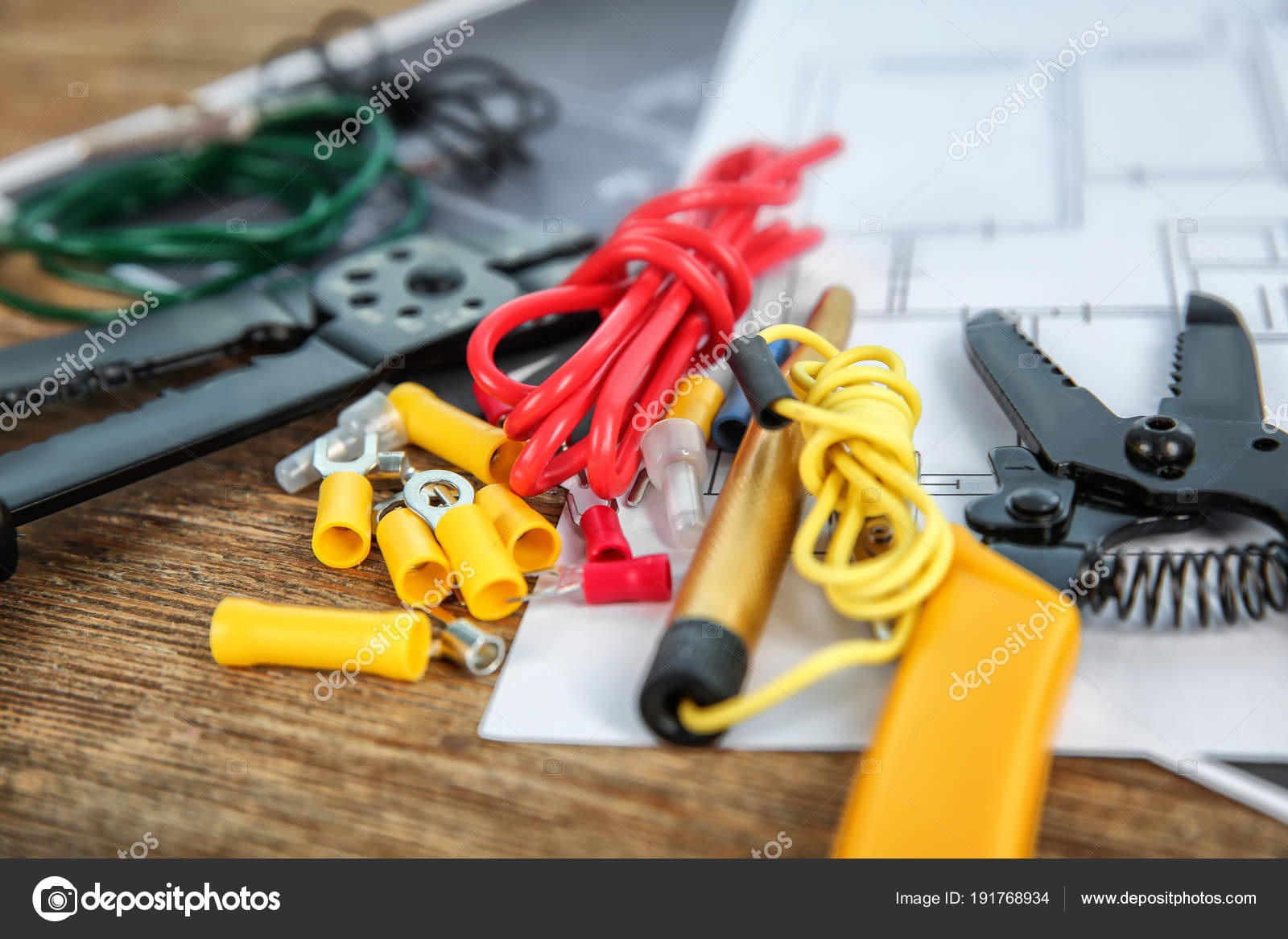 electrical tools and house plan on wooden table — stock photo