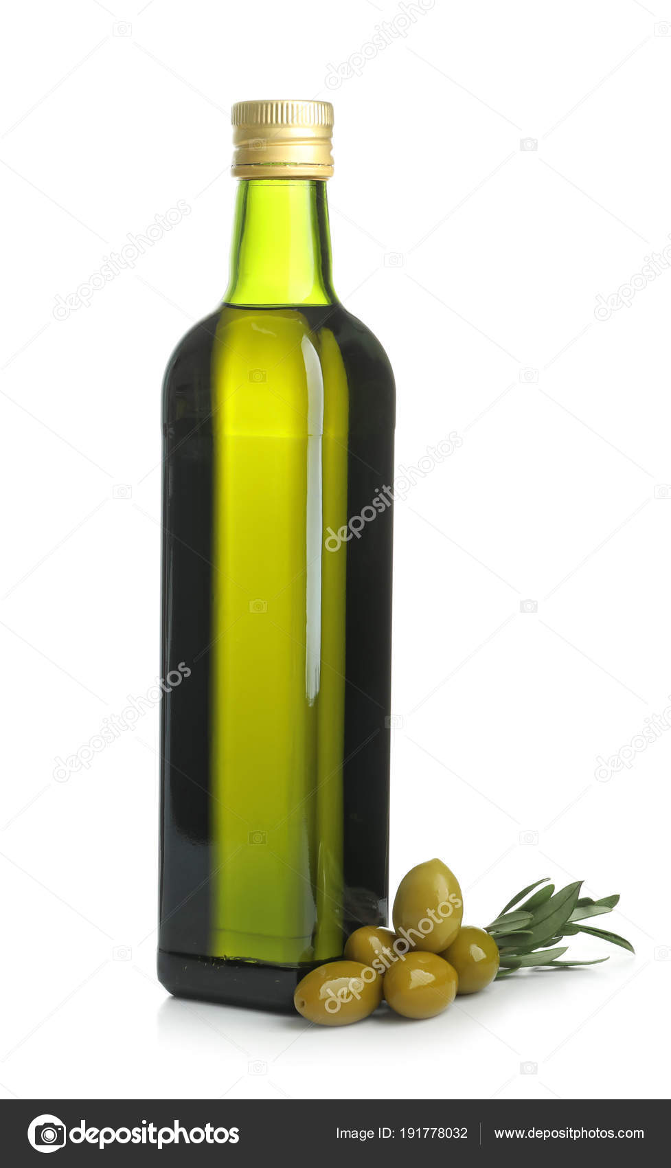 Bottle With Olive Oil On White Background Stock Photo