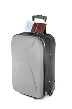 Large suitcase and documents on white background