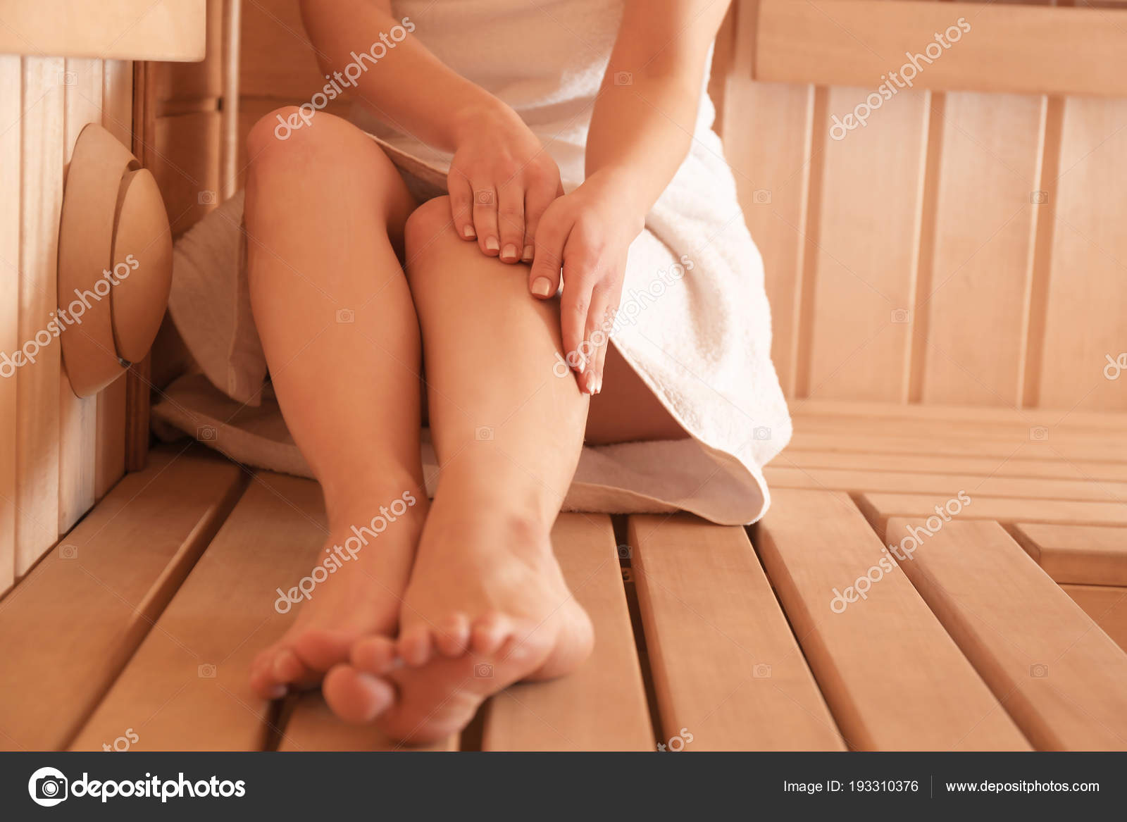 Cool Young Woman Sitting On Wooden Bench In Sauna Stock Photo Ocoug Best Dining Table And Chair Ideas Images Ocougorg