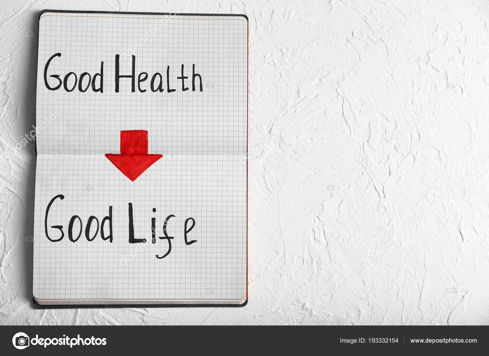 Frase Buena Salud Buena Vida Escrito En El Cuaderno