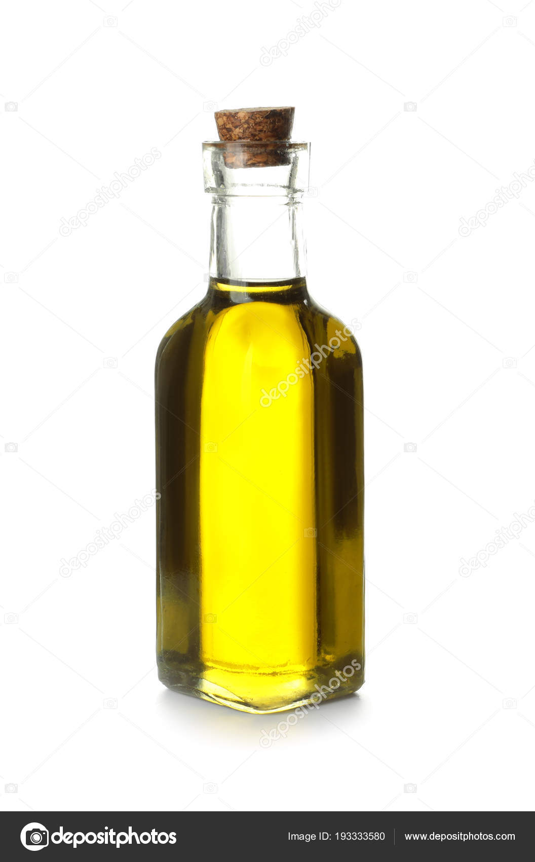 Glass Bottle With Olive Oil On White Background Stock