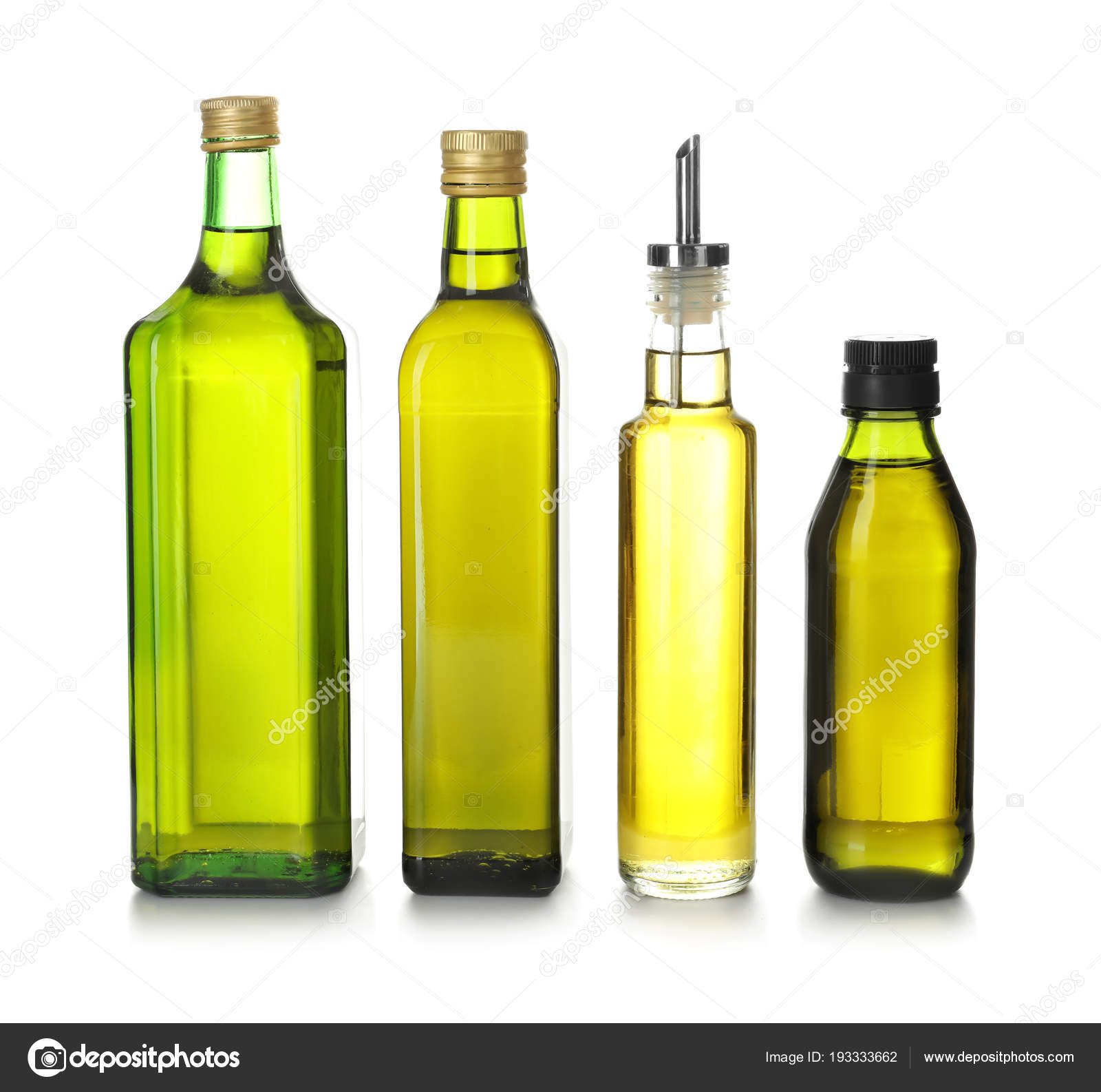 Glass Bottles With Olive Oil On White Background Stock