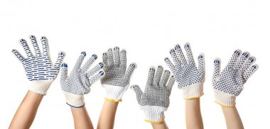 Female hands in gloves on white background