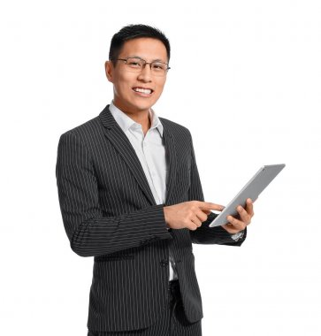 Portrait of Asian businessman with tablet computer on white background