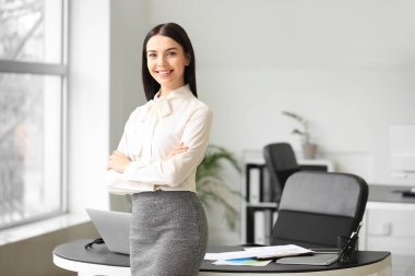 Portrait of young female accountant in office