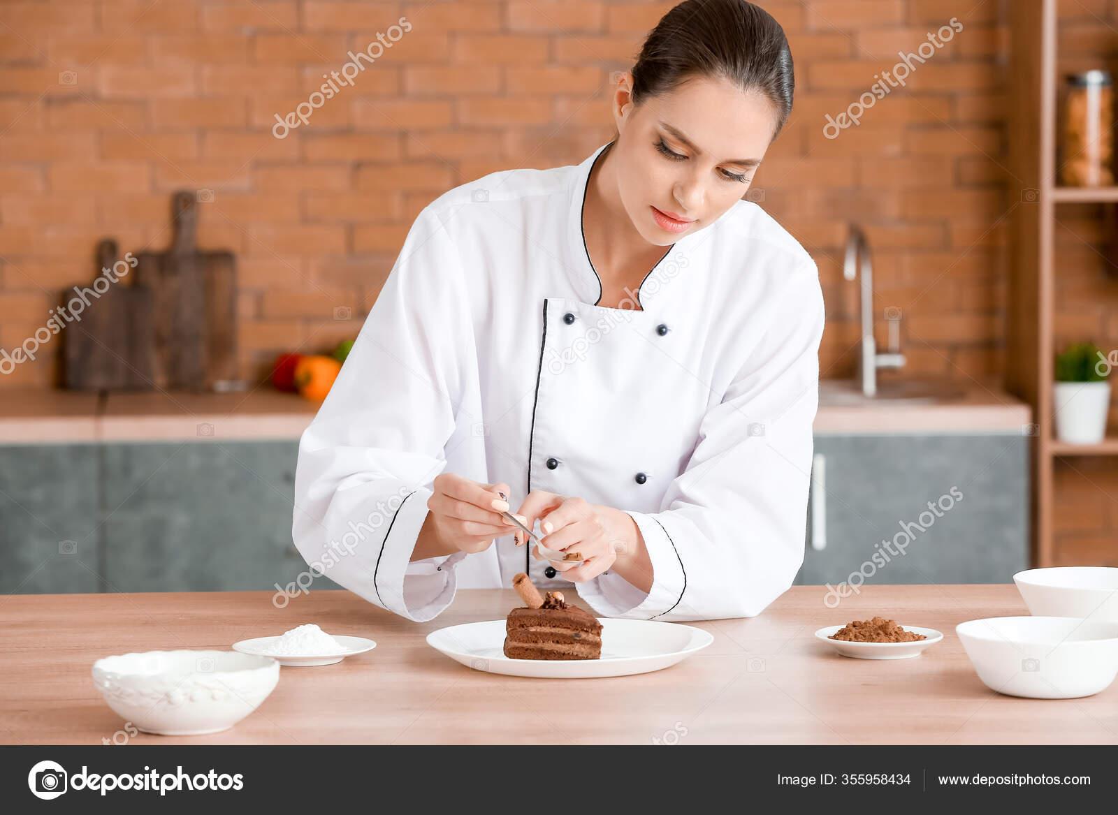 Female Chef Decorating Tasty Dessert Kitchen Stock Photo Image By C Serezniy 355958434