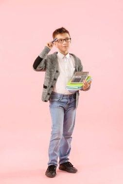 Little accountant on color background
