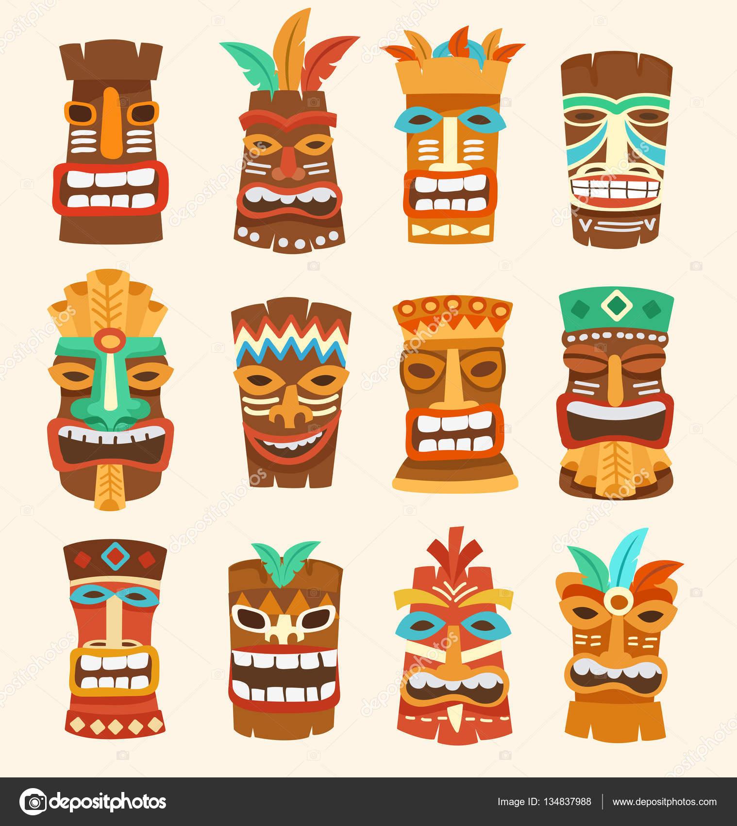 3656bab84a431 Tiki Tribal Mask : Hawaiian Elements : Vector Illustration — Stock Vector