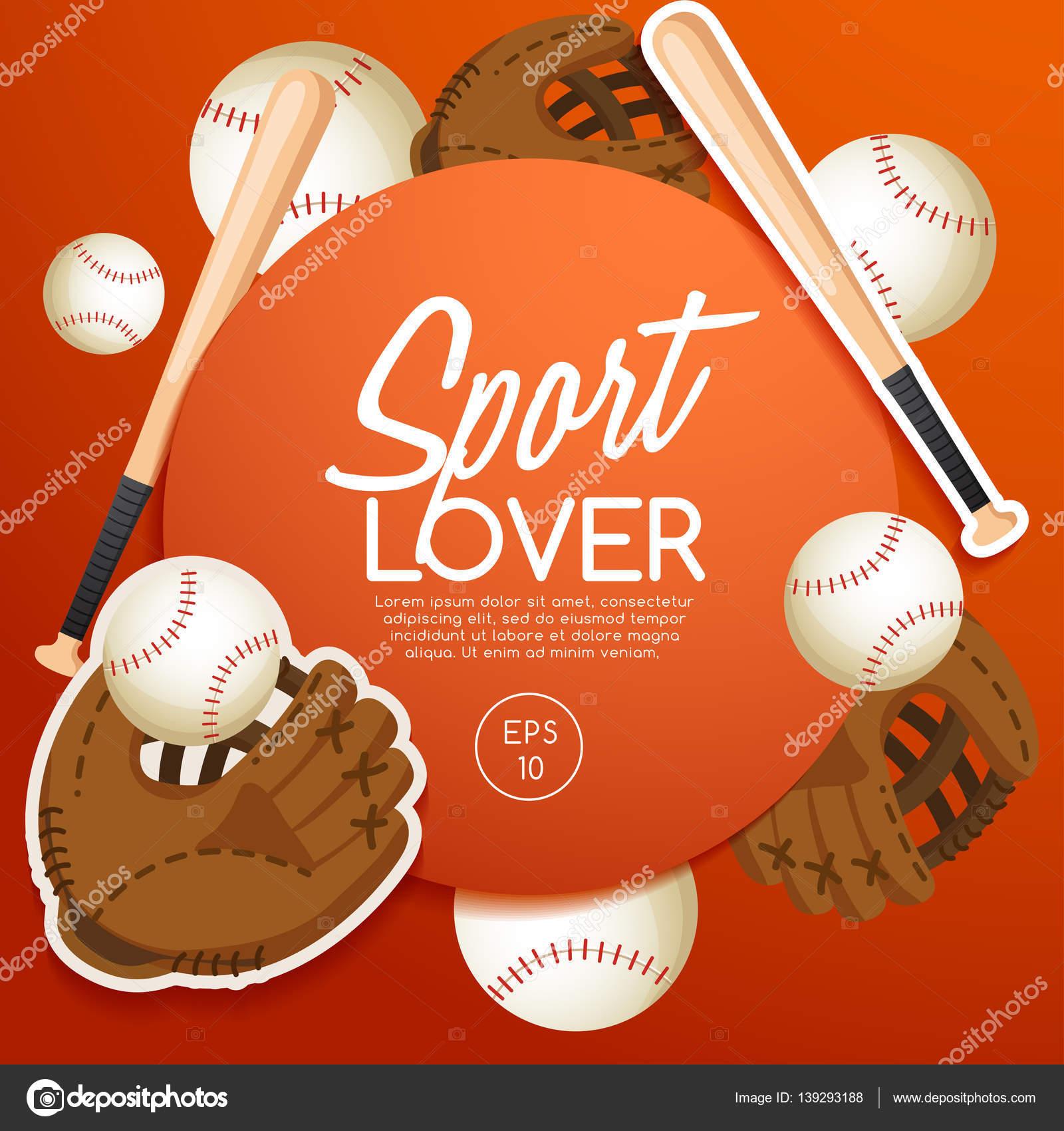 Sport-Liebhaber-Vorlage mit Baseball Ausrüstung — Stockvektor ...