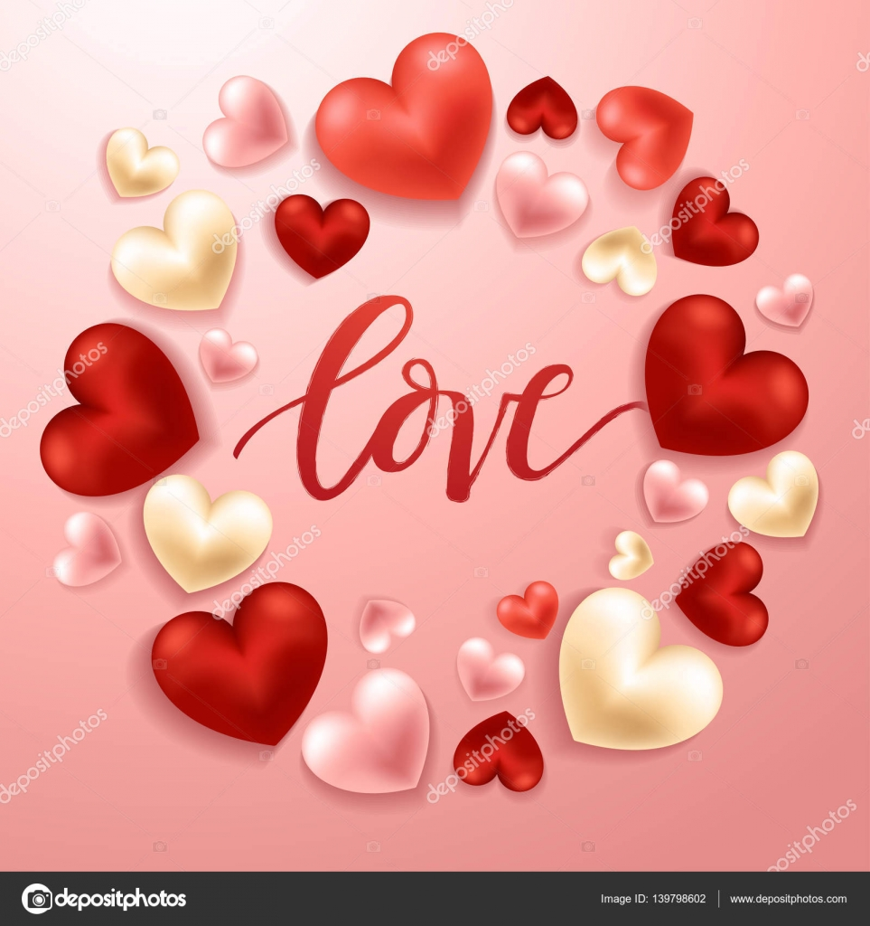 Happy Valentines Day Elements Realistic Valentine Hearts On